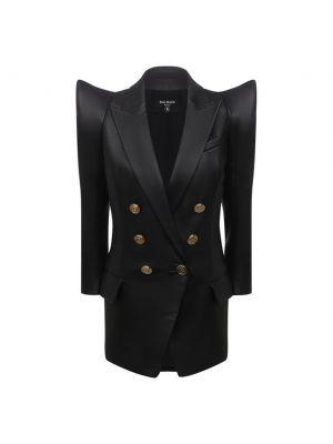 Кожаный пиджак - черный Balmain