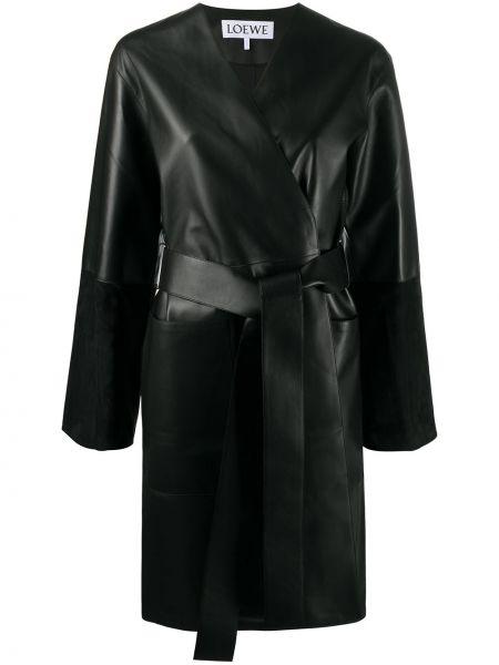 Черное кожаное длинное пальто с поясом Loewe