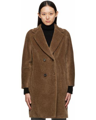 Brązowy długi płaszcz wełniany S Max Mara