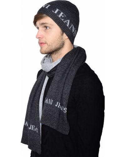 Серый шарф шерстяной Armani Jeans