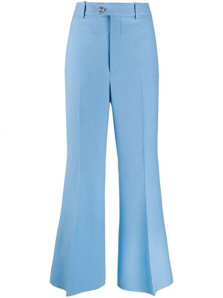 Rozbłysnął jedwab niebieski spodnie z paskiem Gucci