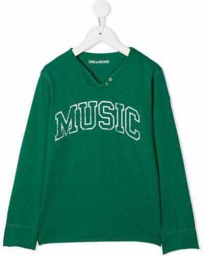 Зеленый топ с надписью с круглым вырезом круглый Zadig & Voltaire Kids