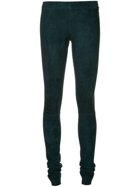 Синие кожаные брюки с поясом узкого кроя Sylvie Schimmel