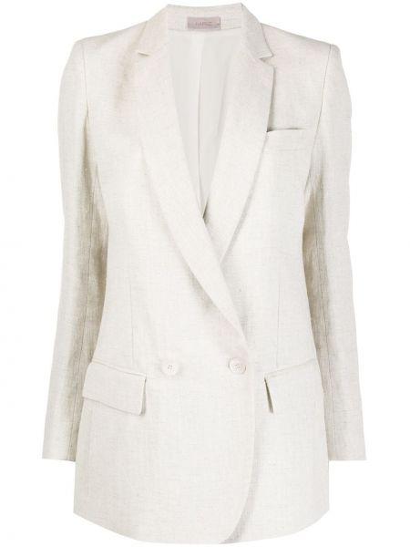 Льняной белый удлиненный пиджак двубортный Mrz