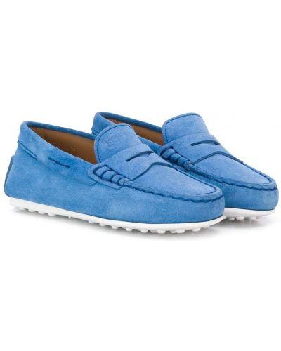 Синие кожаные мокасины без застежки с камнями Tod's Kids