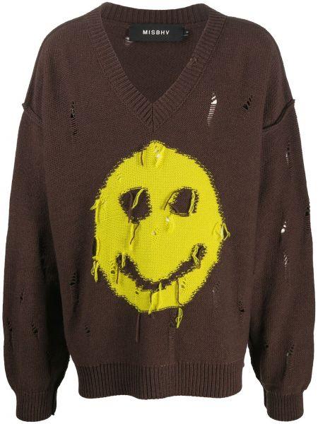 Akryl sweter z dekoltem w szpic z obrazem z długimi rękawami Misbhv