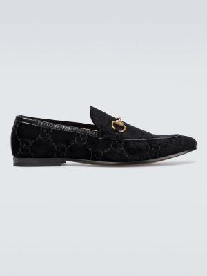 Bawełna czarny skórzany loafers Gucci