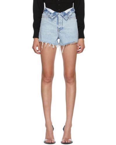 Pomarańczowy dżinsowe szorty z kieszeniami z prawdziwej skóry z łatami Alexander Wang