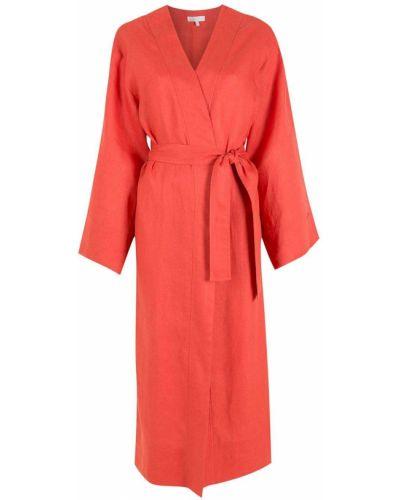 Свободное красное длинное пальто свободного кроя Nk