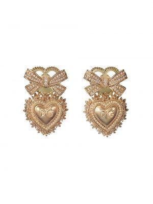 Золотистые золотые серьги золотые с бриллиантом Dolce & Gabbana