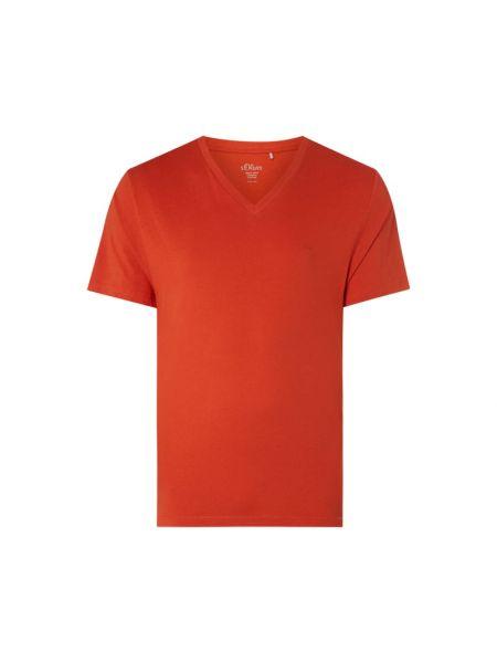 Pomarańczowy t-shirt bawełniany z dekoltem w serek S.oliver Plus