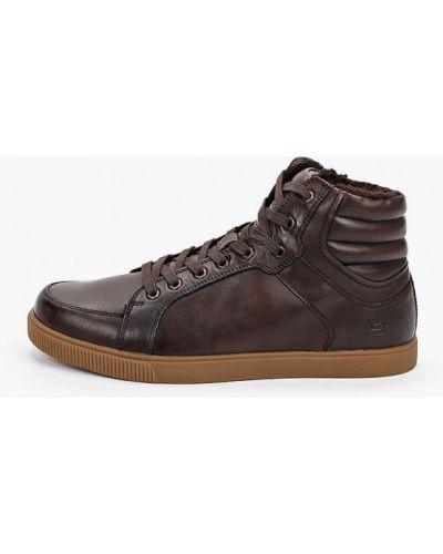Кожаные высокие кеды - коричневые Skechers