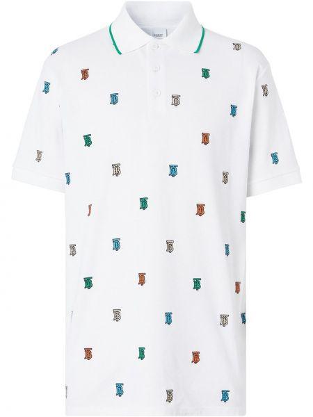 Bawełna prosto biały koszula z krótkim rękawem z kołnierzem Burberry