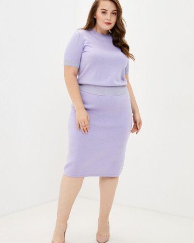 Костюмный вязаный фиолетовый костюм Milanika