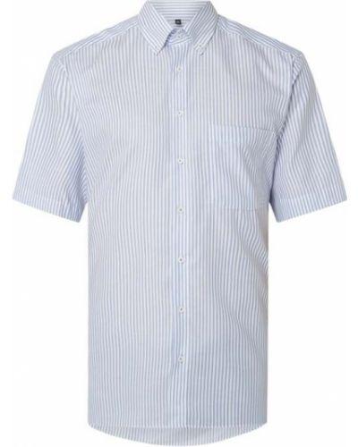 Koszula oxford bawełniana krótki rękaw w paski Eterna