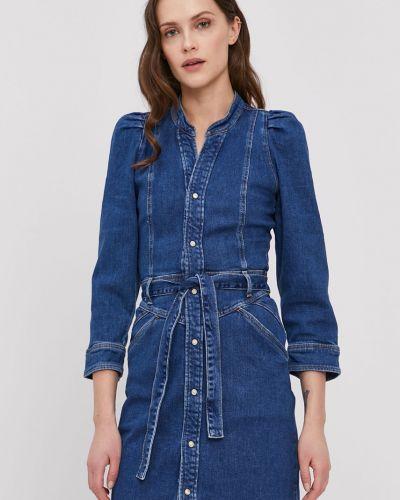 Niebieska sukienka jeansowa z długimi rękawami bawełniana Pepe Jeans
