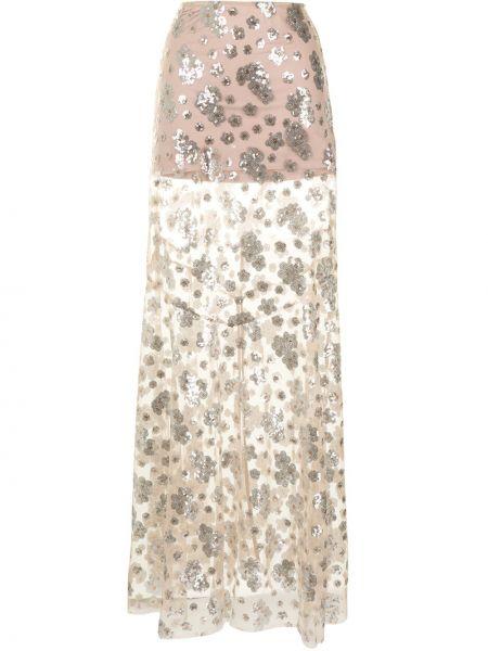 Srebro spódnica rozciągać z tiulu z haftem Macgraw