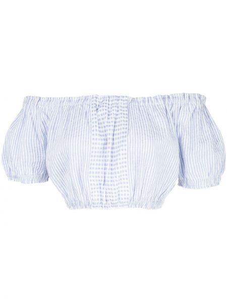 Синее платье мини эластичное с короткими рукавами со спущенными плечами Lemlem