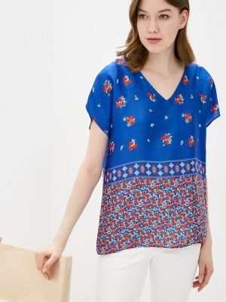 Блузка с коротким рукавом синяя весенний Adl