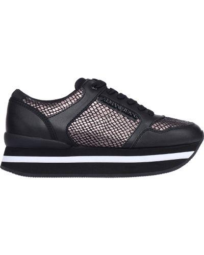 Кроссовки на платформе черные Armani Jeans