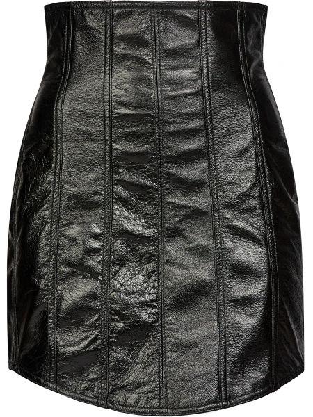 Кожаная юбка - черная David Koma