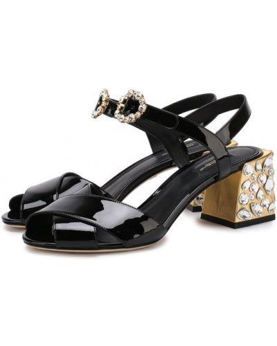 Босоножки на каблуке со стразами Dolce & Gabbana