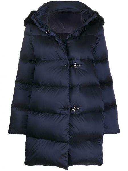 Синее пуховое пальто с капюшоном с опушкой на крючках Fay