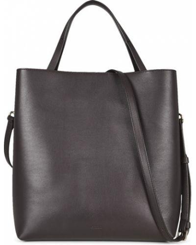 Кожаная коричневая сумка на плечо Ecco