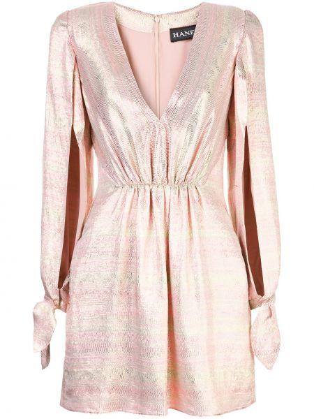 С рукавами розовое платье с V-образным вырезом на молнии Haney