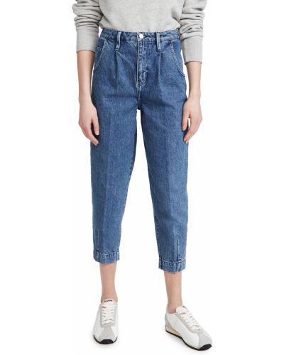 С завышенной талией хлопковые синие укороченные брюки Frame