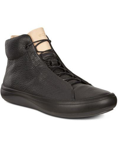 Высокие кеды черные кожаный Ecco