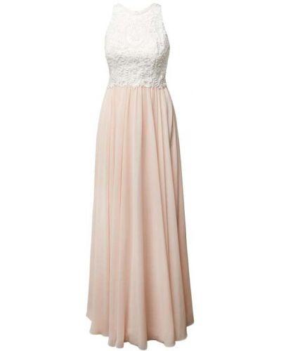 Różowa sukienka wieczorowa rozkloszowana z szyfonu Laona