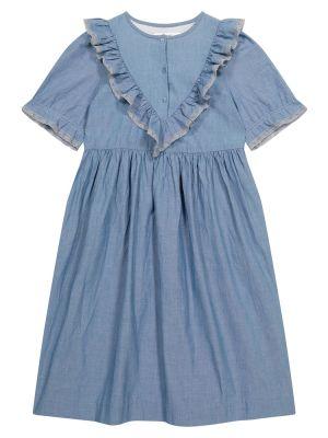Хлопковое платье - синее Bonpoint