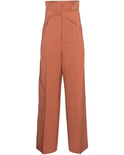 Brązowe spodnie wełniane Jacquemus