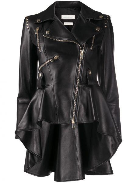 Черная длинная куртка байкерская с лацканами металлическая Alexander Mcqueen