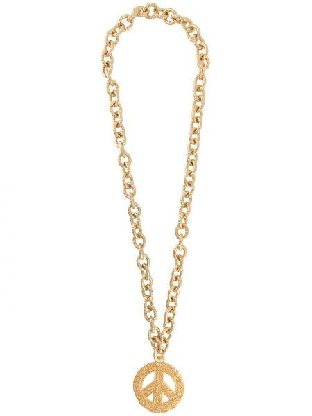 Золотистое желтое ожерелье металлическое Moschino