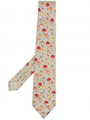 Szary parasol z jedwabiu w szpic Hermes