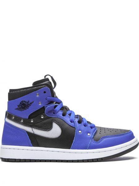 Синие кожаные высокие кроссовки на шнурках Jordan