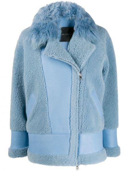 Синяя кожаная куртка на молнии Blancha