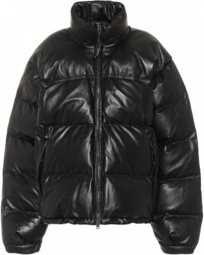 Черная зимняя куртка из натуральной кожи Vetements