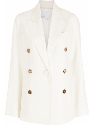 Прямой белый удлиненный пиджак на пуговицах Nk