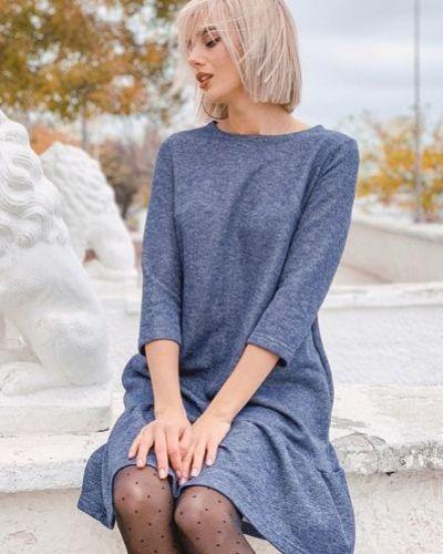 Повседневное синее платье с оборками с люрексом Vovk