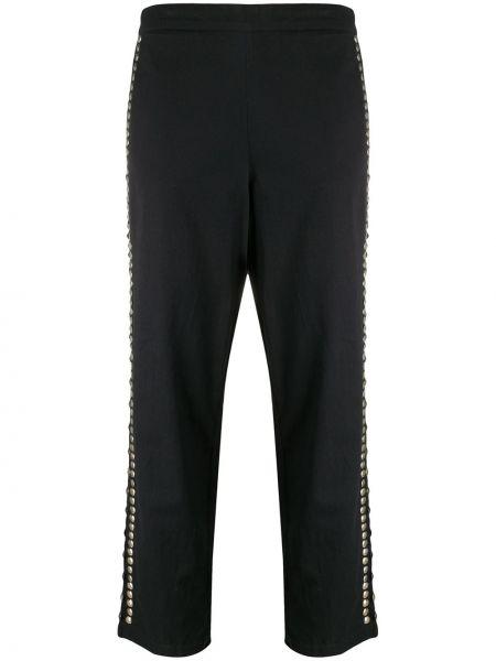 Хлопковые брючные черные укороченные брюки с высокой посадкой Mes Demoiselles