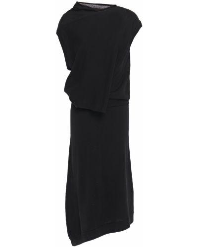 Шерстяное черное платье миди с драпировкой Mcq Alexander Mcqueen