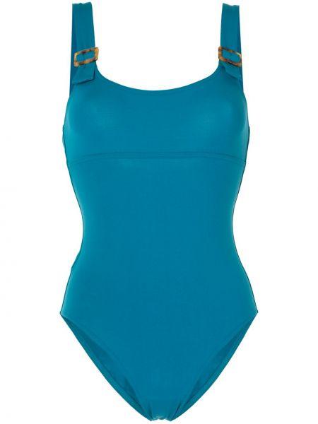Плюшевый синий слитный купальник с вырезом Eres