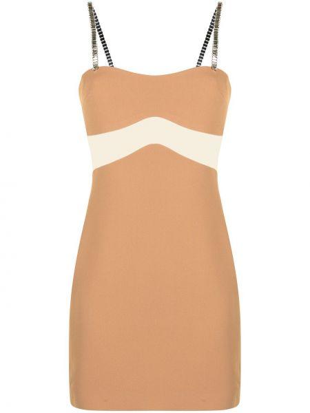 Коричневое платье мини квадратное с вырезом David Koma