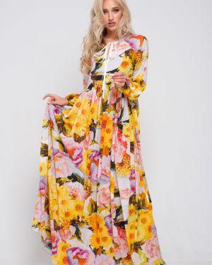 Летнее платье макси с цветочным принтом Leleya
