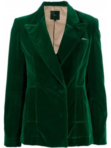 Зеленый бархатный удлиненный пиджак с карманами Jejia