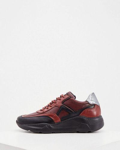 Кожаные красные низкие кроссовки Cerruti 1881