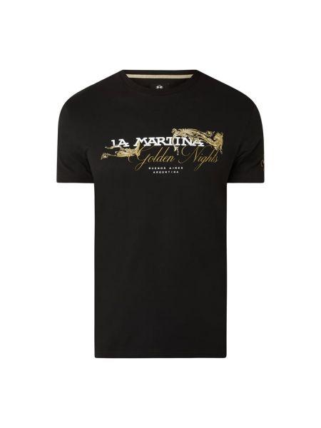 T-shirt bawełniana - czarna La Martina